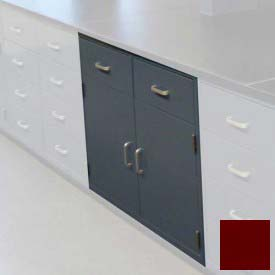 "Lab Base Cabinet 35""W x 22-1/2""D x 35-3/4""H, 2 Drawers, 2 Cupboard Doors, W/1 Shelf, Burgundy"