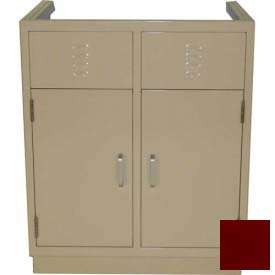 "Lab Base Cabinet 35""W x 22-1/2""D x 35-3/4""H, Louvered Panels W/2 Cupboard Doors, Burgundy"