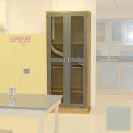 "Lab Wall Freestanding Cabinet 35""W x 18""D x 84-1/4""H, 2 Glass Doors, 5 Adj Shelves, Champagne"