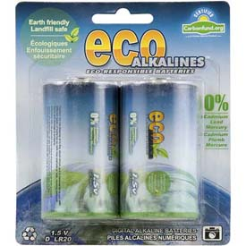 ECOAlkaline™ D Cell 2 Pack - Pkg Qty 5