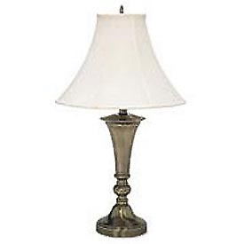 Antique Brass Finish Table Lamp with Bell Shade, 27 High