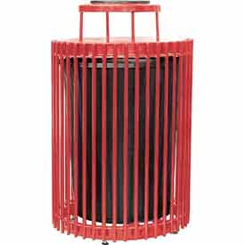 32 Gallon Steel Rod Receptacle - Red