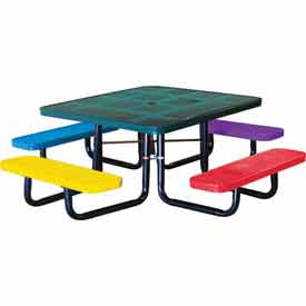 "46"" Square Child's Picnic Table, Perforated Metal, In-Ground Mount, Multi Colors"