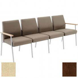 Mystic 4 Seat Sofa, Walnut Arm Cap Kilkenny Tweed Stone