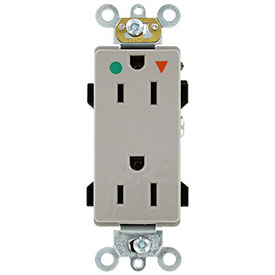 Leviton 16262-Igg 15a, 125v, Decora Plus Duplex Receptacle, Hospital Grade, Gray - Min Qty 13