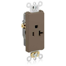 Leviton 16351 20a, 125v, Decora Plus Sgl Recpt., Commercial Grade, Self-Grounding, Brown-Min Qty 24