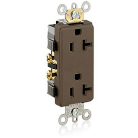 Leviton 16352 20a, 125v, Decora Plus Duplex Receptacle, Self Grounding, Brown - Min Qty 23