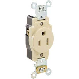 Leviton 5261-W 15a, 125v, Single Receptacle, White - Min Qty 17