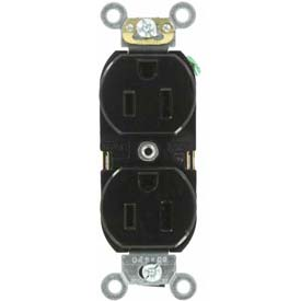 Leviton 5262-Se 15a, 125v, Duplex Receptacle, Self Grounding, Black - Min Qty 16