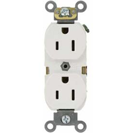 Leviton 5262-SW 15A, 125V, Duplex Receptacle, Self Grounding, White