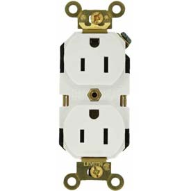 Leviton 5262-W 15a, 125v, Duplex Receptacle, Self Grounding, White - Min Qty 22