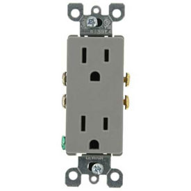 Leviton 5325-GY 15A, 125V, Decora Duplex Receptacle, Grounding, Gray