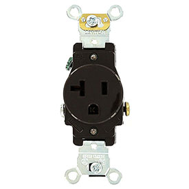 Leviton 5351 20a, 125v, Single Receptacle, Self Grounding, Brown - Min Qty 24