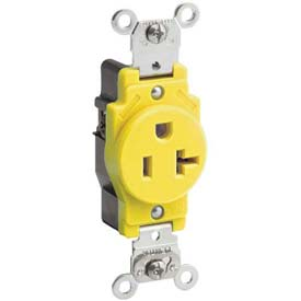 Leviton 5361-T 20a-125v Single Receptacle, Light Almond - Min Qty 15