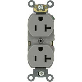 Leviton 5362-GYS 20A, 125V, Duplex Rcpt, Self Grounding, Contractor Pack, Gray