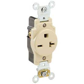 Leviton 5461-I 20a, 250v, Single Receptacle, Ivory - Min Qty 13