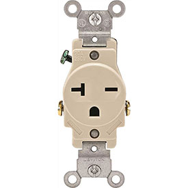 Leviton 5821-T 20A, 250V, NEMA 6-20R, 2P, 3W, Single Recpt., Grounding, Lt. Alm.