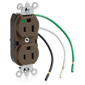 Leviton 8200-L  Duplex Receptacle, Straight Blade, Self Grounding, Brown - Min Qty 11