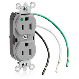 Leviton 8200-Lgy 15a, 125v, Slim Body Duplex Receptacle, Grounding, Gray - Min Qty 11