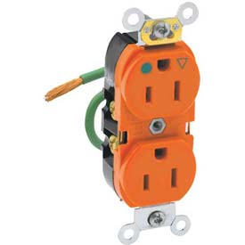 Leviton 8200-Lig 15a, 125v, Slim Body Duplex Receptacle, Orange - Min Qty 12