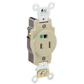 Leviton 8210-I 15a, 125v, Single Receptacle, Ivory - Min Qty 14