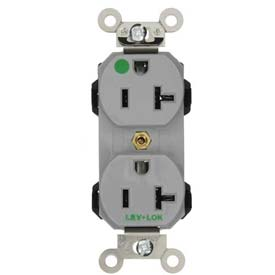 Leviton 8300-Gy 20a, 125v, Duplex Receptacle, Self Grounding, Gray - Min Qty 18