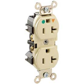 Leviton 8300-Igi  Duplex Receptacle, Straight Blade, Isolated Ground, Ivory - Min Qty 9