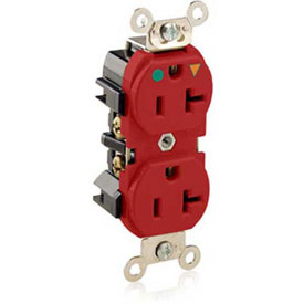 Leviton 8300-Igr  Duplex Receptacle, Straight Blade, Isolated Ground, Red - Min Qty 9
