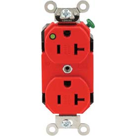 Leviton 8300-Plr 20a, 125v, Duplex Receptacle, Self Grounding, Red - Min Qty 8