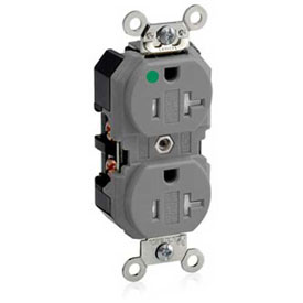 Leviton 8300-Sgg  Duplex Receptacle, Straight Blade, Self Grounding, Gray - Min Qty 8