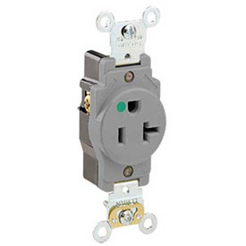 Leviton 8310-Gy 20a, 125v, Single Receptacle, Gray - Min Qty 13