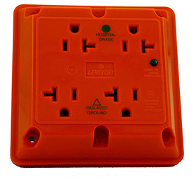 Leviton 8490-Ig 20a 4-In-1 Surge Receptacle W/ Indicator Lht, Iso Ground, Orange - Min Qty 3