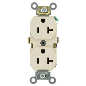 Leviton BR20-T 20A, 125V, Duplex Receptacle, Self Grounding, Light Almond