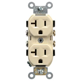 Leviton CR20-I 20A, 125V, Duplex Receptacle, Self Grounding, Ivory
