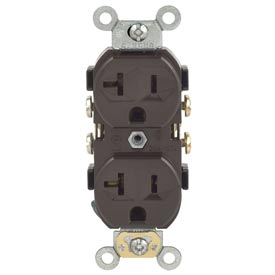 Leviton CR20 20A, 125V, Duplex Receptacle, Self Grounding, Brown