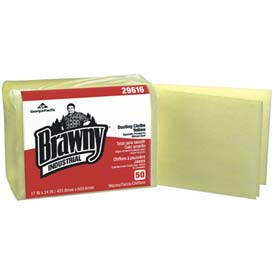 "Brawny Industrial 1/4 Fold Dusting Cloths 17"" x 24"", Yellow 50 Wipes Pack 4/Case - GEP29616"