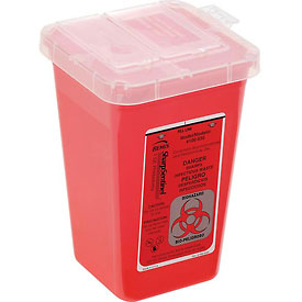 """1-Quart Phlebotomy Sharps Container, Dual Openings, 4-1/2""""W x 4-1/2""""D x 6-3/4""""H, Red"""