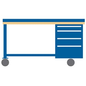 72x30x39.25 Cabinet & Leg mobile workbench w/4 drawers, back & end stops/galvanized steel top