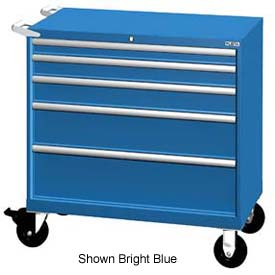 "Lista 40-1/4""W Mobile Cabinet, 5 Drawers, 63 Compart - Bright Blue, Keyed Alike"