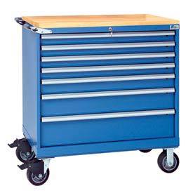 "Lista® 7 Drawer 40-1/4"" Shallow Depth Mobile Cabinet w/Butcher Top-Blue, Master Keyed"