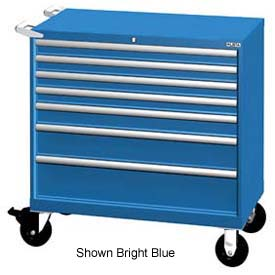 """Lista 40-1/4""""W Mobile Cabinet, 7 Drawers, 94 Compart - Bright Blue, Keyed Alike"""