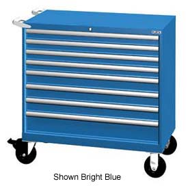 "Lista 40-1/4""W Mobile Cabinet, 8 Drawers, 129 Compart - Bright Blue, Keyed Alike"
