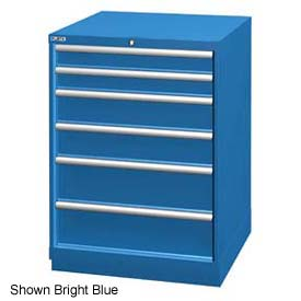 """Lista 28-1/4""""W Drawer Cabinet, 6 Drawer, 74 Compart - Classic Blue, Individual Lock"""