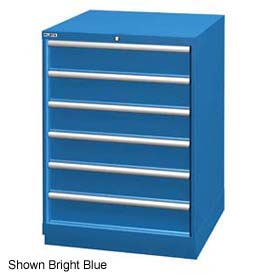 """Lista 28-1/4""""W Drawer Cabinet, 6 Drawer, 72 Compart - Bright Blue, Individual Lock"""