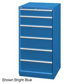"Lista 28-1/4""W Cabinet, 6 Drawer, 37 Compart - Classic Blue, Keyed Alike"