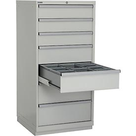 "Lista 28-1/4""W Cabinet, 7 Drawer, 62 Compart - Light Gray, Individual Lock"
