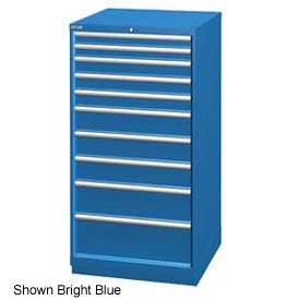 "Lista 28-1/4""W Cabinet, 10 Drawer, 161 Compart - Bright Blue, Master Keyed"