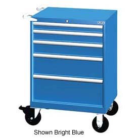 "Lista 28-1/4""W Mobile Cabinet, 5 Drawers, 44 Compart - Classic Blue, Keyed Alike"