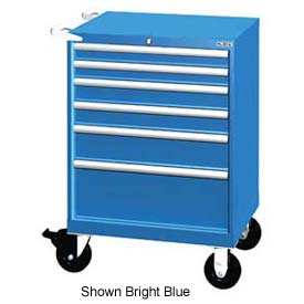 "Lista 28-1/4""W Mobile Cabinet, 6 Drawers, 58 Compart - Bright Blue, No Lock"