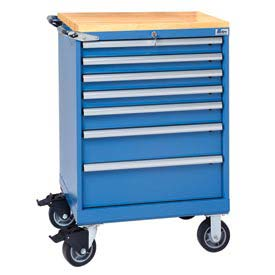 "Lista® 7 Drawer 24""W Shallow Depth Mobile Cabinet w/Butcher Block Top-Blue, Master Keyed"